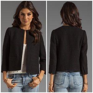 Vince wool blend cropped jacket in black